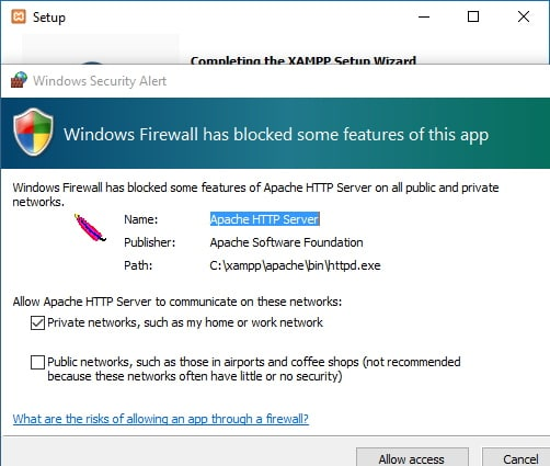 Windows firewall allow access