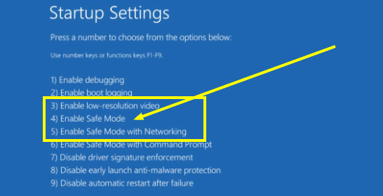 Enable Safe Mode with Networking in the Startup Settings