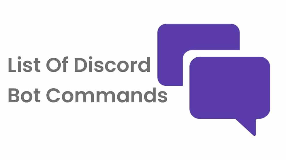 List Of Discord Bot (text) Commands