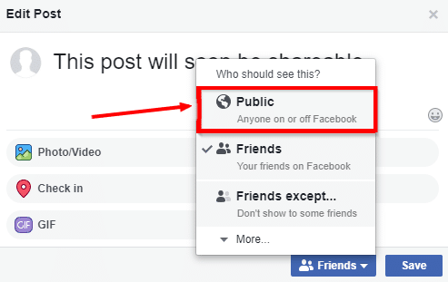 how to make a post shareable on facebook in a group